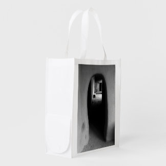Adobe Passageway: Black & White photo Reusable Grocery Bags