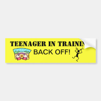 Adolescente en pegatina para el parachoques del en etiqueta de parachoque