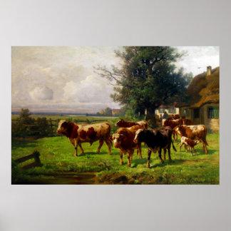 Adolf Chelius Cow Herd at Dachau Poster