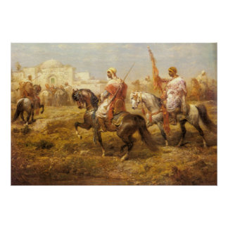 Adolf Schreyer Arab Cavalry Approaching An Oasis Poster
