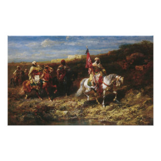 Adolf Schreyer Arab Horseman In A Landscape Poster
