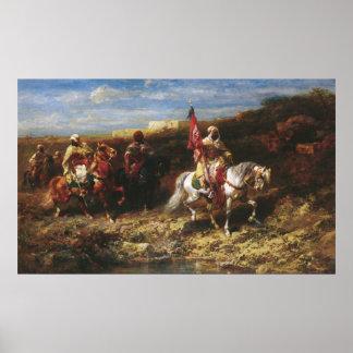 Adolf Schreyer Arab Horseman In A Landscape Poster