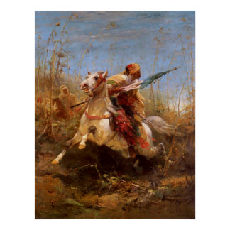 Adolf Schreyer Arab Warrior Leading A Charge Poster