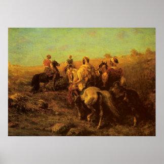 Adolf Schreyer Arabian Horsemen Near A Watering Pl Poster