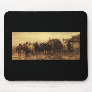 Adolf Schreyer Hitching Horses To The Wagon Mouse Pad