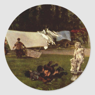 Adolfo Menzel - escena del jardín Pegatina Redonda