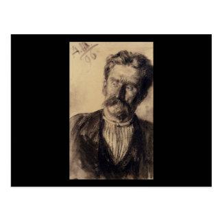 Adolph von Menzel Head de un hombre Postal
