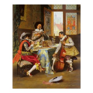 Adolphe Alexandre Lesrel The Musical Trio Print
