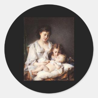 Adolphe Jourdan Maternal Affection Classic Round Sticker