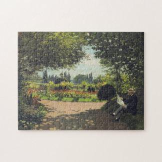 Adolphe Monet Reading in Garden Monet Fine Art Puzzle