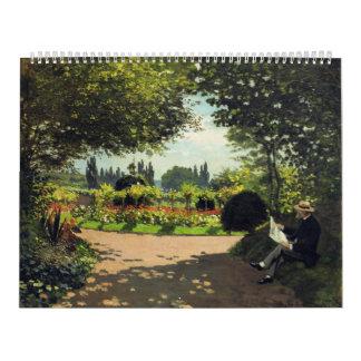 Adolphe Monet Reading in the Garden - Claude Monet Wall Calendar