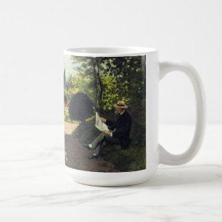 Adolphe Monet Reading in the Garden - Claude Monet Classic White Coffee Mug
