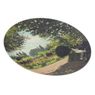 Adolphe Monet Reading in the Garden - Claude Monet Party Plates