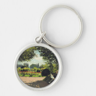 Adolphe Monet Reading in the Garden - Claude Monet Silver-Colored Round Keychain