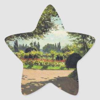 Adolphe Monet Reading in the Garden - Claude Monet Star Sticker