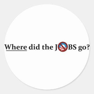 ¿Adónde los TRABAJOS fueron ningún Obama Etiquetas