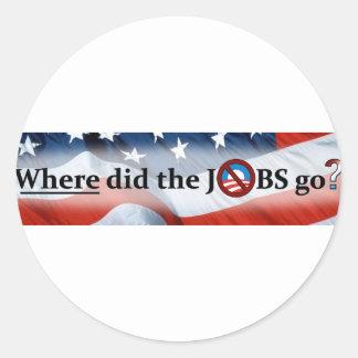 ¿Adónde los TRABAJOS fueron ningún Obama Etiqueta Redonda