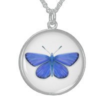 Adonis Blue Butterfly Watercolour Painting Artwork Sterling Silver Necklace