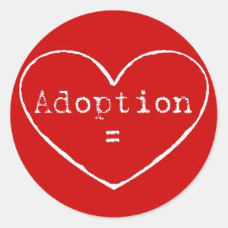 Adopción = amor en blanco pegatina redonda