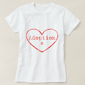 Adopción = amor en rojo playera