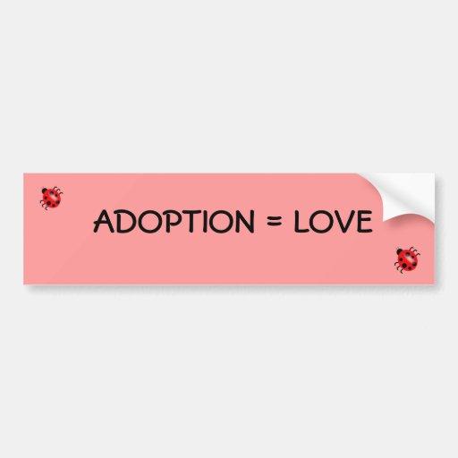 Adopción = amor etiqueta de parachoque