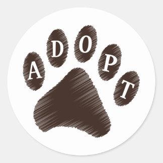Adopción animal etiqueta