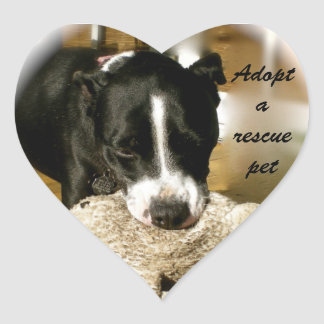Adopción del mascota del rescate pegatina en forma de corazón