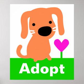 Adopción del mascota - perro y corazón anaranjados póster