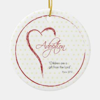 Adopción, puntos religiosos, amarillos con el adorno navideño redondo de cerámica