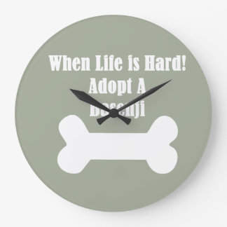 Adopt A Basenji Large Clock