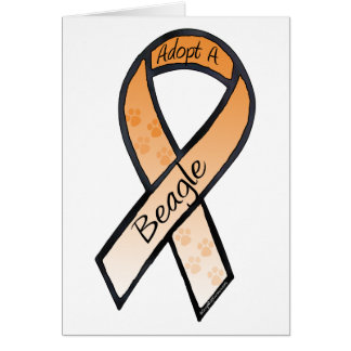 Adopt a Beagle Orange Awareness Ribbon Card