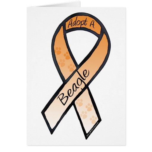 Adopt a Beagle Orange Awareness Ribbon Greeting Cards