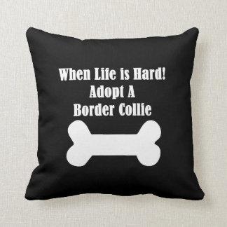 Adopt A Border Collie Throw Pillow