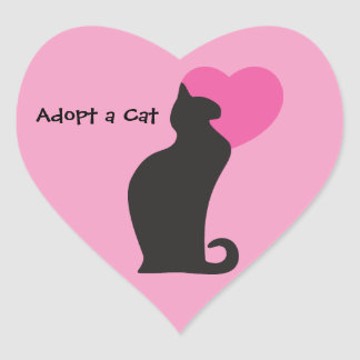 Adopt a Cat Heart Sticker