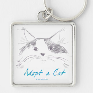 Adopt a Cat Key Ring Silver-Colored Square Keychain