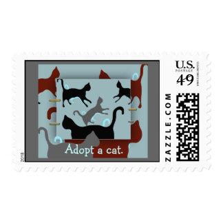 Adopt a cat multi-cat collage Postage