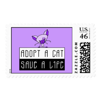 Adopt A Cat Save A Life Postage Stamp - Purple
