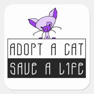 Adopt A Cat Save A Life Square Sticker