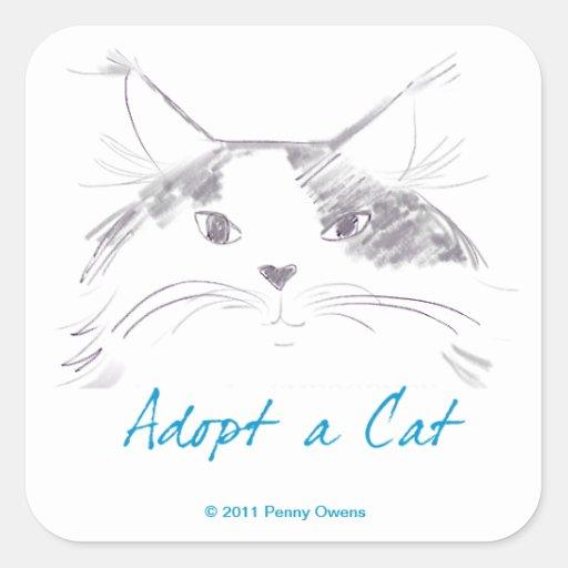 Adopt a Cat Square Sticker
