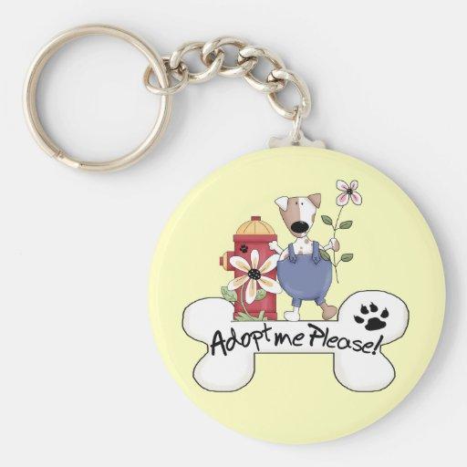 Adopt A Dog Basic Round Button Keychain