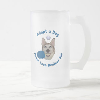 Adopt a Dog Ping Pong 16 Oz Frosted Glass Beer Mug