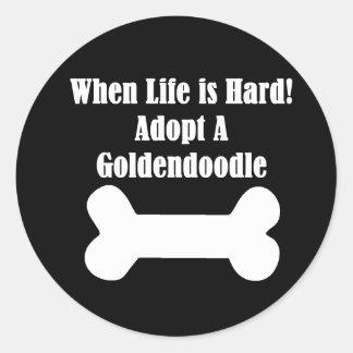 Adopt A Goldendoodle Classic Round Sticker
