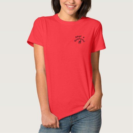 Adopt a Greyhound Dog Embroidered Shirt