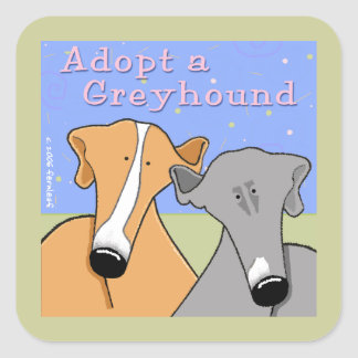 Adopt a Greyhound Dog Square Sticker