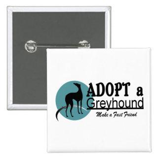 Adopt a Greyhound Logo 2 Inch Square Button