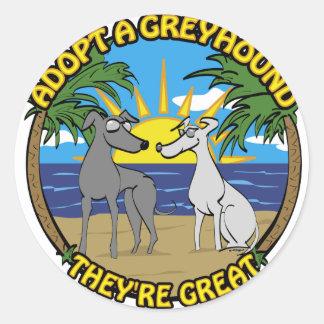 ADOPT A GREYHOUND THEY'RE GREAT CLASSIC ROUND STICKER