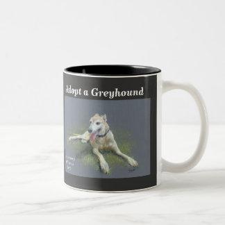 ADOPT A GREYHOUND Two-Tone COFFEE MUG