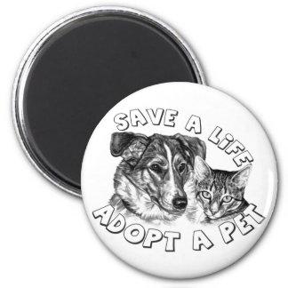 Adopt a Pet 2 Inch Round Magnet