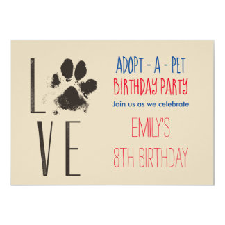 Adopt-A- Pet Birthday Party Paw Print Card