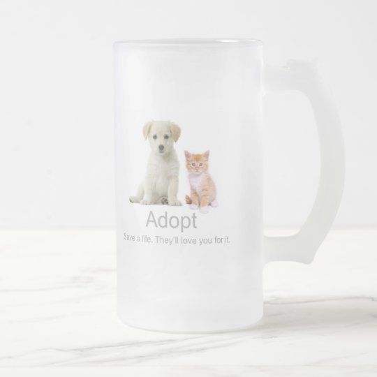 adopt a pet frosted glass beer mug